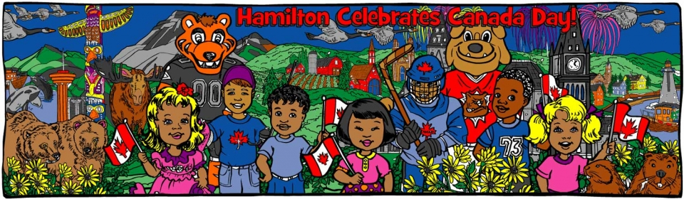 Hamilton Canada Day (w/their mascots) - 1178